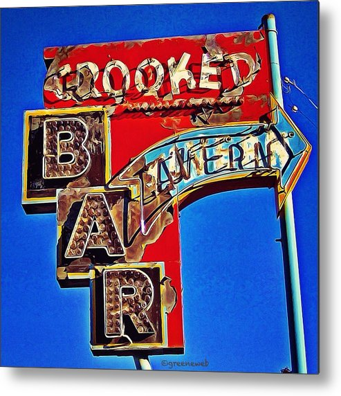 Crooked Metal Print featuring the photograph Crooked Bar And Tavern by Alison Webster