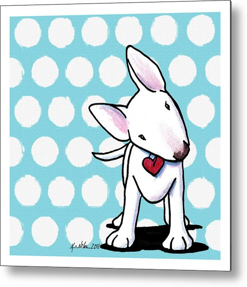 Bull Terrier Metal Print featuring the drawing Curious Little Bully by Kim Niles