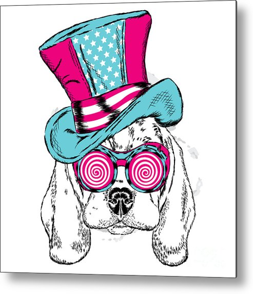 Magic Metal Print featuring the digital art Cute Dog In An Unusual Hat . Vector by Vitaly Grin