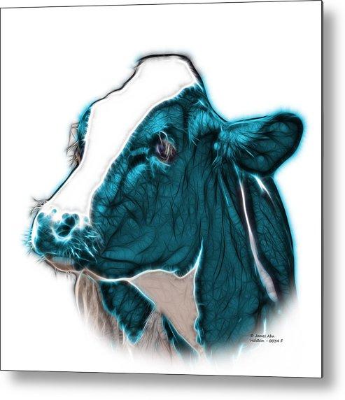 Cow Metal Print featuring the digital art Cyan Cow Holstein - 0034 Fs by James Ahn