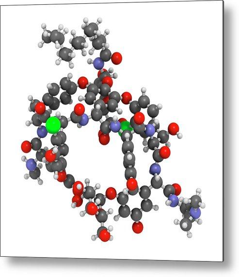 Dalbavancin Metal Print featuring the photograph Dalbavancin Glycopeptide Antibiotic Drug by Molekuul