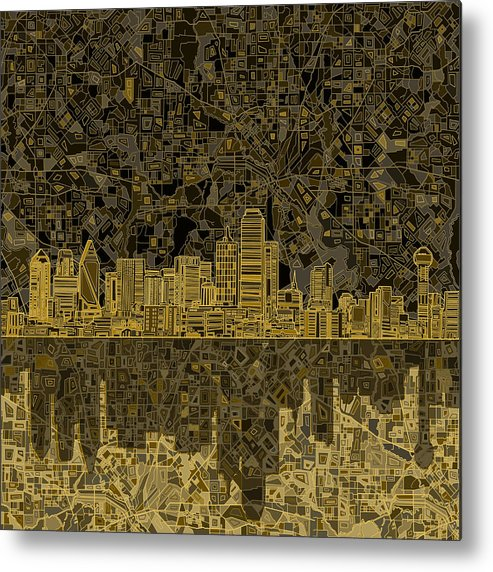 Dallas Metal Print featuring the painting Dallas Skyline Abstract 3 by Bekim M