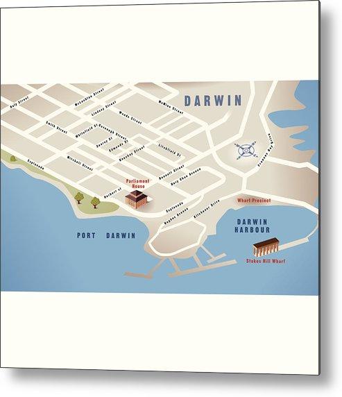 Australia Map Darwin.Darwin Nt Australia Map Metal Print