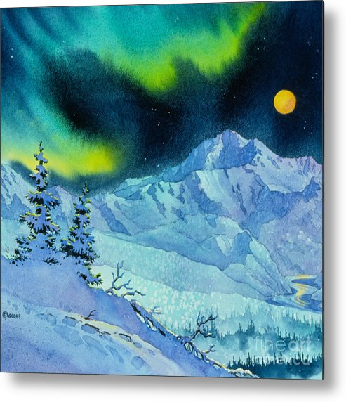 Denali Night Metal Print featuring the painting Denali Night In Square by Teresa Ascone