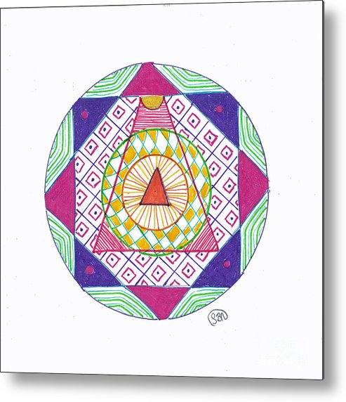 Mandala Metal Print featuring the drawing Destination by Signe Beatrice