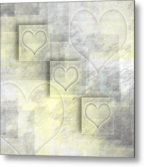 Abstract Metal Print featuring the photograph Digital-art Hearts II by Melanie Viola