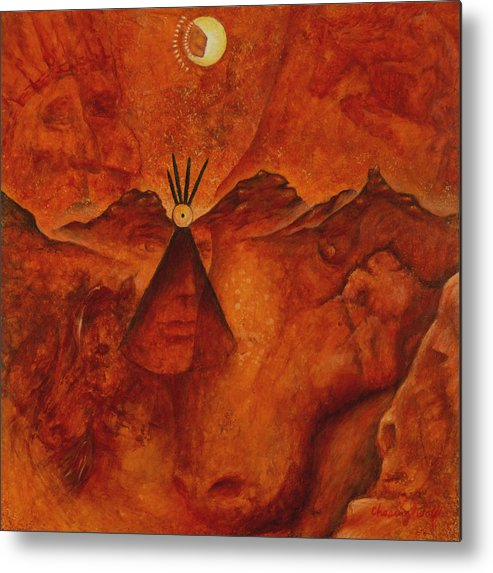 Native American Metal Print featuring the painting Doorways by Kevin Chasing Wolf Hutchins