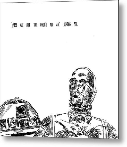 R2d2 Metal Print featuring the digital art Droids by Deborah Connor