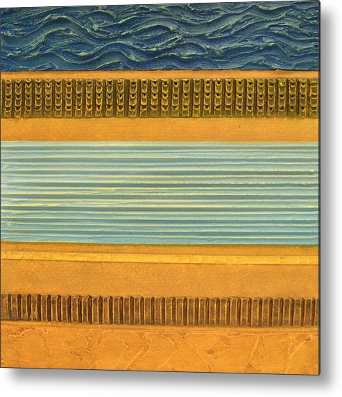 Abstract Metal Print featuring the painting Earth Layers Abstract Ll by Michelle Calkins