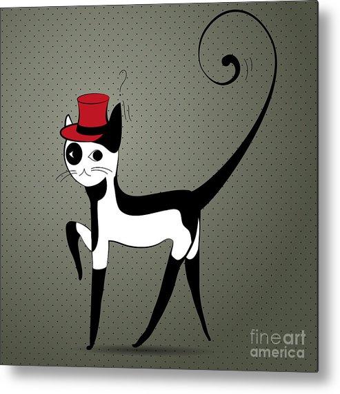 Art Metal Print featuring the digital art Elegant Decorative Cat by Salenko