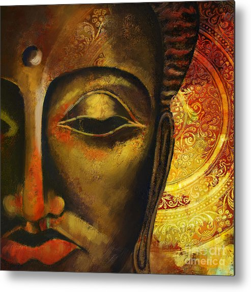 Face Of Buddha Metal Print featuring the painting Face Of Buddha by Corporate Art Task Force