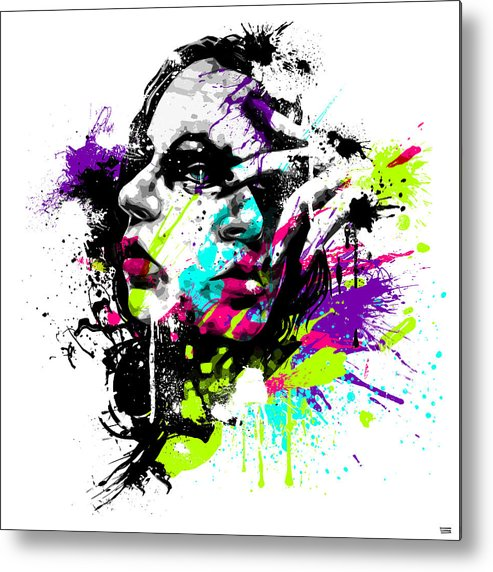 Female Metal Print featuring the digital art Face Paint 1 by Jeremy Scott