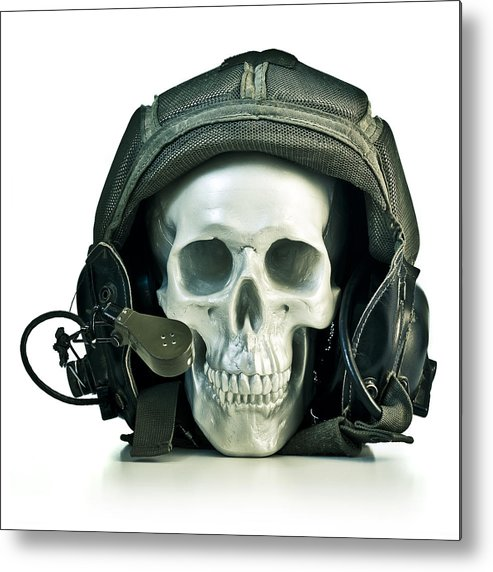 Concepts Metal Print featuring the photograph Fake Skull Wearing A Military Pilot Helmet by Roberto Adrian
