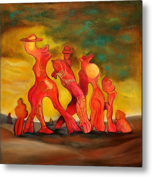 Figural Abstract Composition Metal Print featuring the painting Family Walk by Daniel Dinev