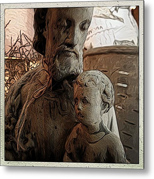 Angel Metal Print featuring the digital art Father And Son by Jen Brooks Art