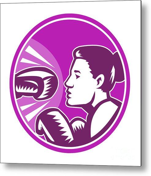 Boxer Metal Print featuring the digital art Female Boxer Punch Retro by Aloysius Patrimonio