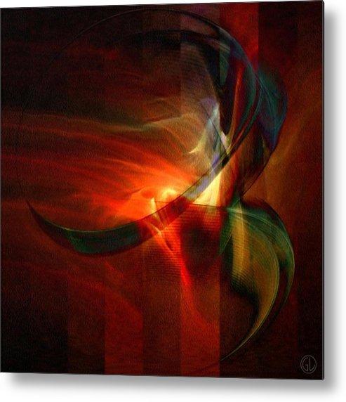 Abstract Metal Print featuring the digital art Fiery Flight by Gun Legler