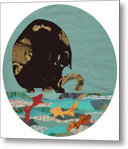 Animal Metal Print featuring the mixed media Fishing Cat Black by Mary Atchison