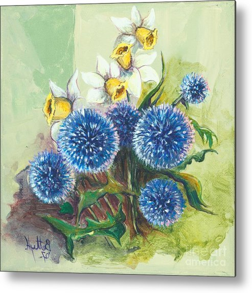 Art Metal Print featuring the painting Floral II by Elisabeta Hermann