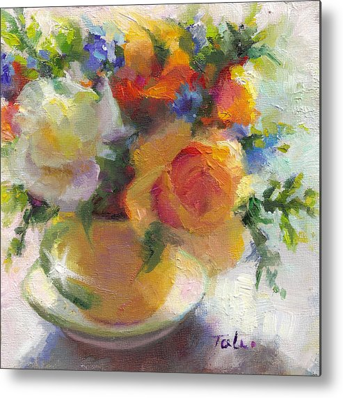 Roses Metal Print featuring the painting Fresh - Roses In Teacup by Talya Johnson