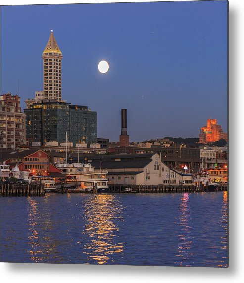 Seattle Metal Print featuring the photograph Full Moon Over Pioneer Square by Scott Campbell