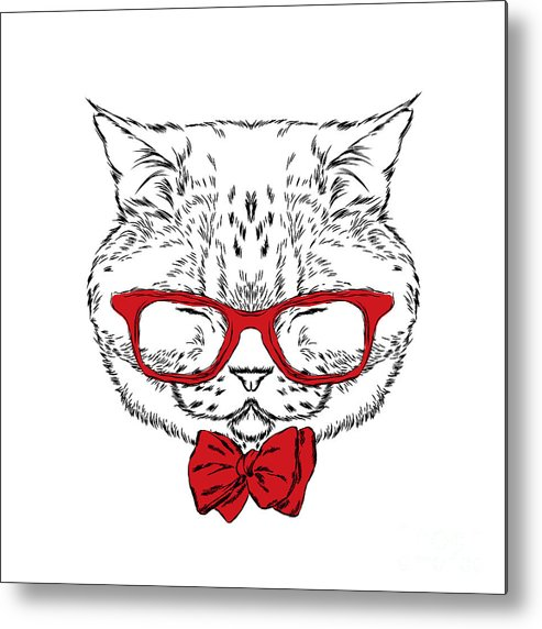 Shop Metal Print featuring the digital art Funny Cat In A Tie And Glasses. Vector by Vitaly Grin