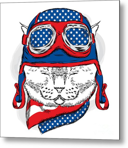 Plane Metal Print featuring the digital art Funny Cat In The Hat And Scarf. Vector by Vitaly Grin