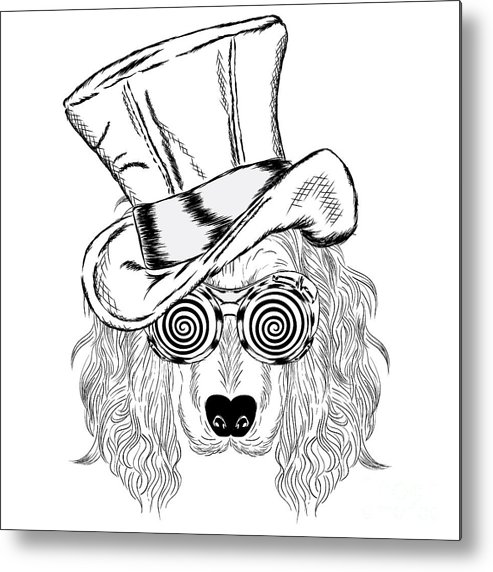 Magic Metal Print featuring the digital art Funny Dog In An Unusual Hat And by Vitaly Grin
