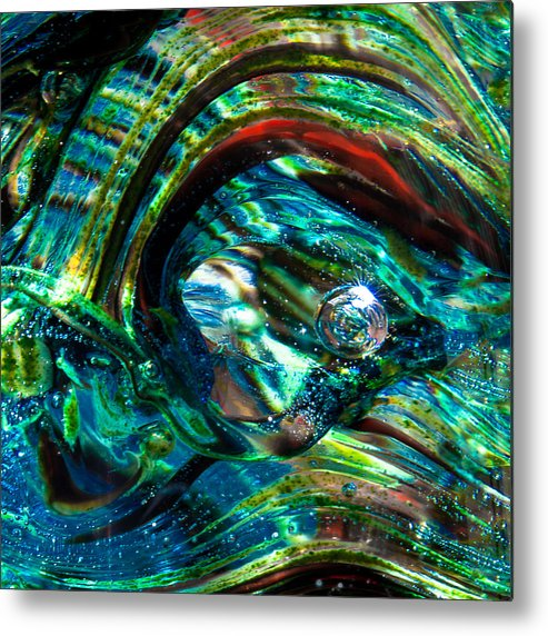 Glass Metal Print featuring the photograph Glass Macro - Blue Green Swirls by David Patterson