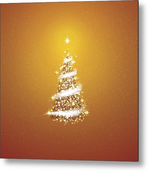 Gold Christmas Tree Blizzard Stars Background Metal Print