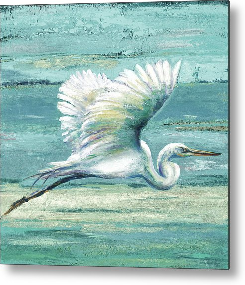 Coastal Metal Print featuring the painting Great Egret I by Patricia Pinto