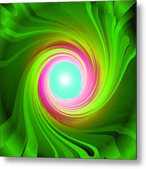 Artdeco Metal Print featuring the digital art Green Energy-spiral by Ramon Labusch