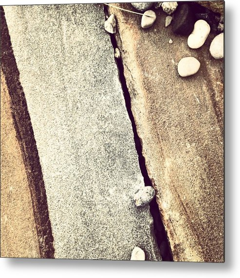 Grey Metal Print featuring the photograph Grey Stone Abstract by Christy Beckwith