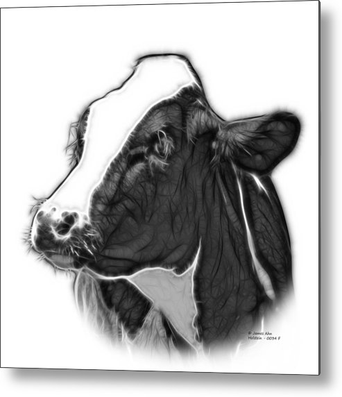 Cow Metal Print featuring the digital art Greyscale Cow Holstein - 0034 Fs by James Ahn