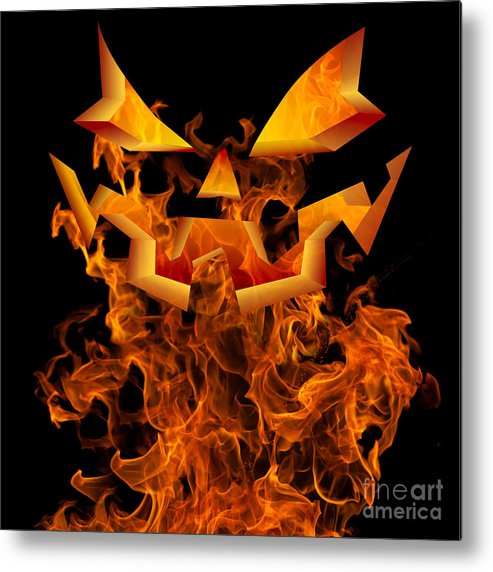 Halloween Autumn Fall Background Greeting Design Scary Flames Metal Print