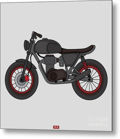 Trend Metal Print featuring the digital art Hand Drawn Classic Motor Illustration by Glory Creative