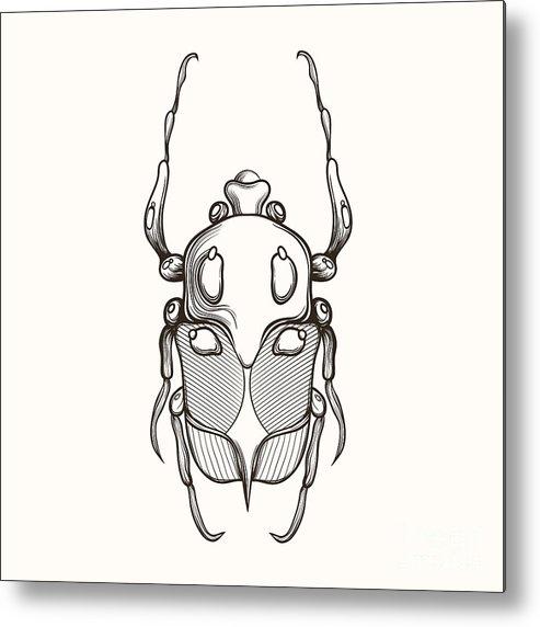 Shield Metal Print featuring the digital art Hand Drawn Engraving Sketch Scarab by Panki