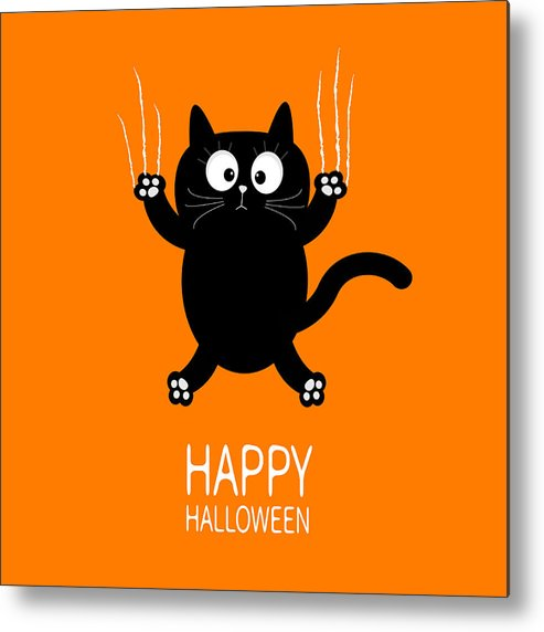 Happy Halloween Black Cat Claw Scratch Glass Cute Cartoon Funny Baby Character Greeting Card Scary Surprised Face Emotion Orange Background