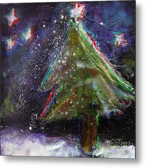 Happy Holidays Metal Print featuring the painting Happy Holidays Red And Blue Wishing Stars by Johane Amirault