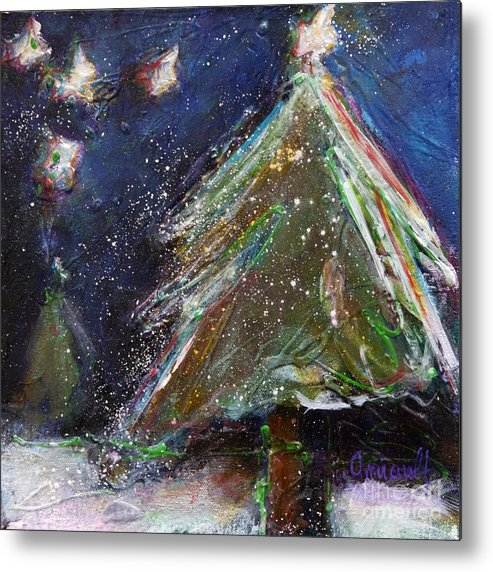 Happy Holidays Metal Print featuring the painting Happy Holidays Silver And Red Wishing Stars by Johane Amirault