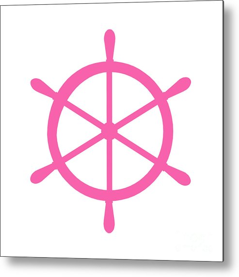 Graphic Art Metal Print featuring the digital art Helm In Pink And White by Jackie Farnsworth