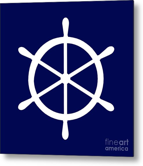 Graphic Art Metal Print featuring the photograph Helm In White And Navy Blue by Jackie Farnsworth