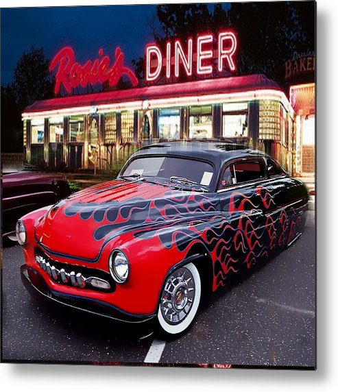 Hot Rod Metal Print featuring the photograph Hot Rod Diner Classic by Kevin Moore