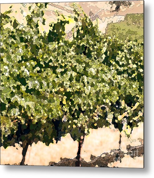 Cour De Valle Vineyard Metal Print featuring the painting In The Vineyard by Artist and Photographer Laura Wrede