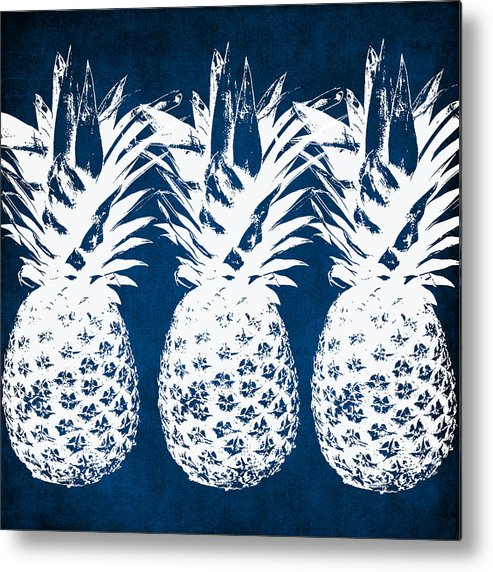 Indigo Metal Print featuring the painting Indigo And White Pineapples by Linda Woods