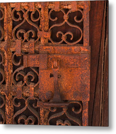 Mission Carmel Metal Print featuring the photograph Iron Door by Art Block Collections