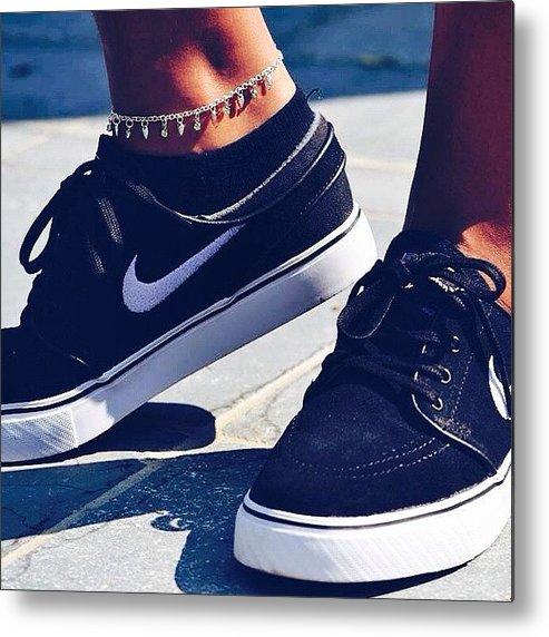 Janoskians Metal Print featuring the photograph  janoskians  shoes  nike   black by Ellen 48ef54859