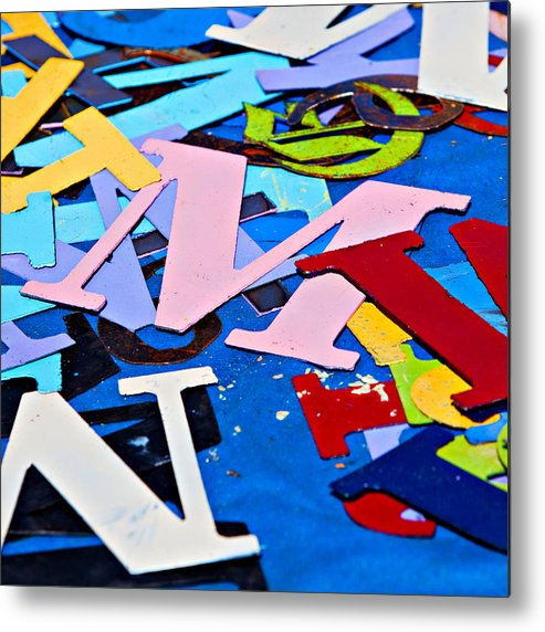 Letter Metal Print featuring the photograph Jumble Of Letters by Art Block Collections