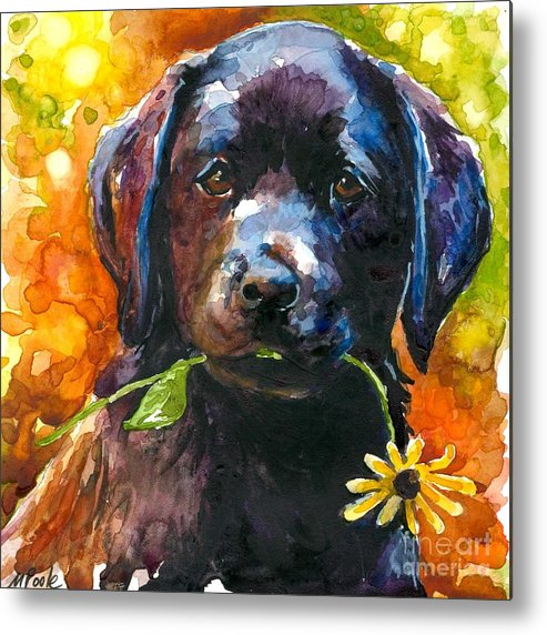 Black Lab Puppy Metal Print featuring the painting Just Picked by Molly Poole