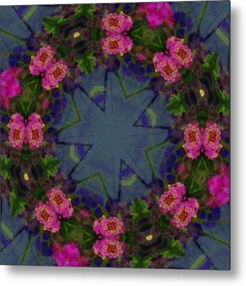 Kaleidoscope Metal Print featuring the photograph Kaleidoscope Lantana Wreath by Cathy Lindsey